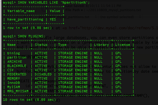 mysql partitions